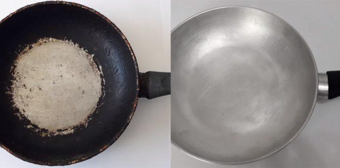 Самый дешевый и действенный способ очистить сковородку до блеска ➤ Главное.net